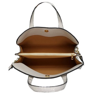 人気デザインを改良した仕切付上品仕上げのハンドバッグS/ブルー h03