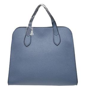 人気デザインを改良した仕切付上品仕上げのハンドバッグL/ブルー h01