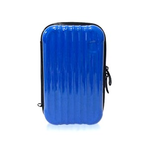 中身が潰れないスーツケース型ポーチ/ブルー