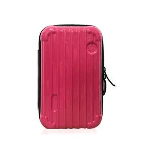 中身が潰れないスーツケース型ポーチ/ホットピンク