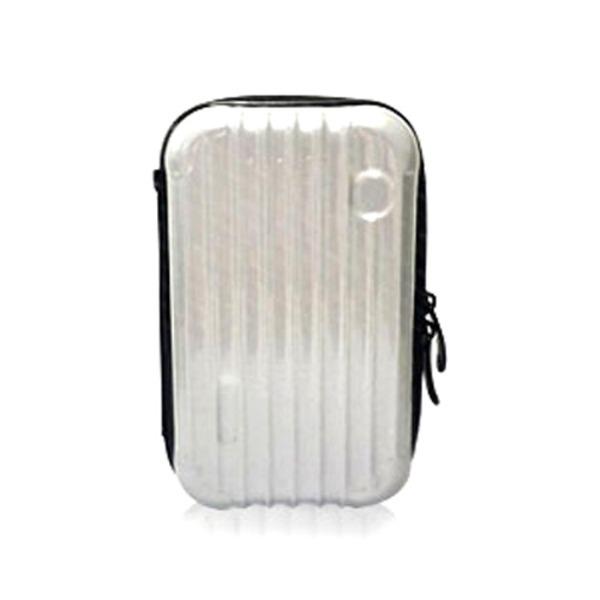 中身が潰れないスーツケース型ポーチ/シルバーf00