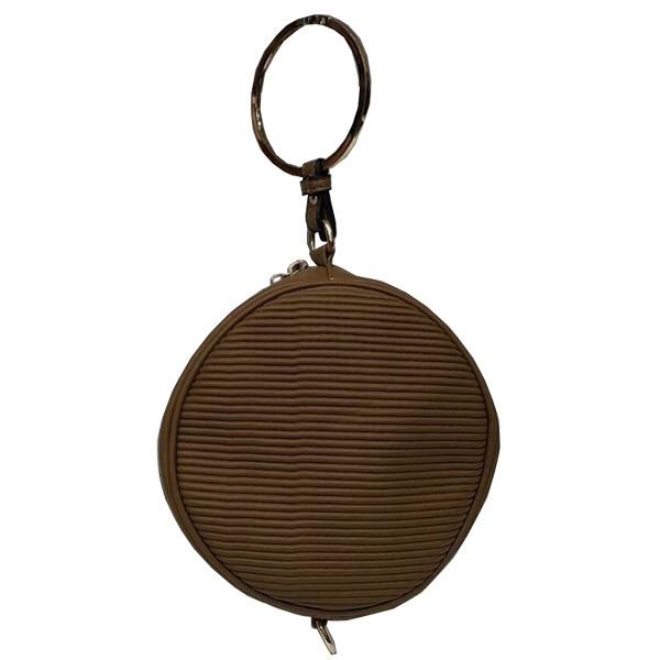 リングが持ち手の丸いショルダーバッグにもなるハンドバッグ/ブラウンf00