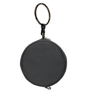 リングが持ち手の丸いショルダーバッグにもなるハンドバッグ/グレイ h01
