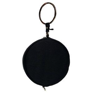 リングが持ち手の丸いショルダーバッグにもなるハンドバッグ/ブラック h01