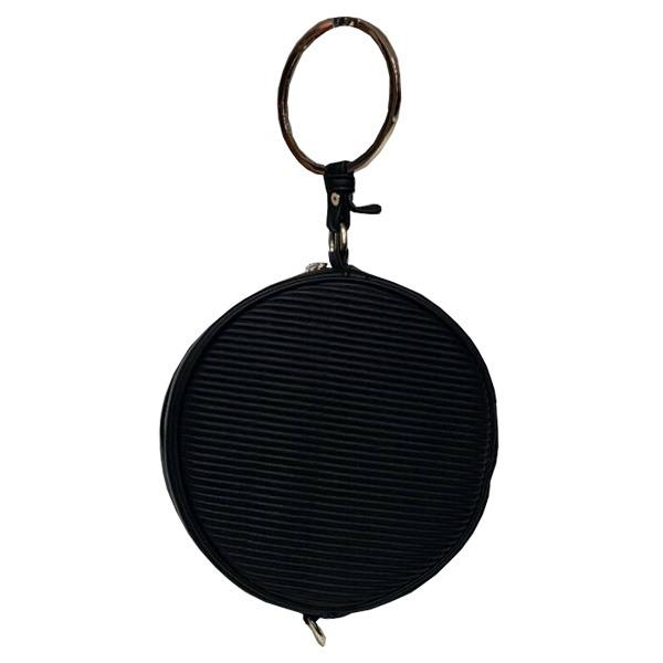 リングが持ち手の丸いショルダーバッグにもなるハンドバッグ/ブラックf00