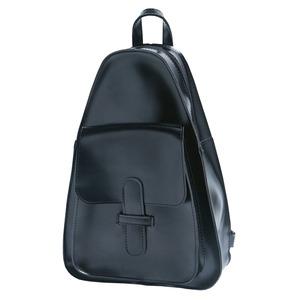 三角おにぎりデザイン♪コンパクトな前ポケット付リュック/ブラック h01