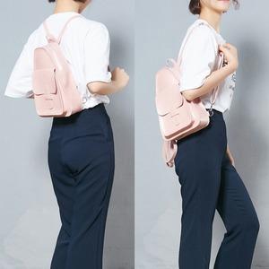 三角おにぎりデザイン♪コンパクトな前ポケット付リュック/ピンク