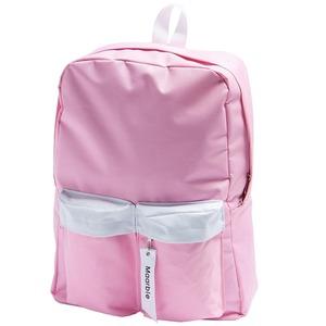 人気商品!2つの前ポケット付軽量シンプルラウンドリュック/ピンク