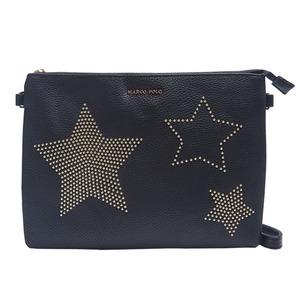 人気デザイン♪上品な小ぶりスタッズで星をデザインしたクラッチバッグ/ブラック