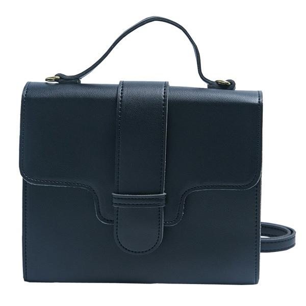 同素材の留め具がポイント♪クラシカルなシンプルハンドバッグ/ブラックf00