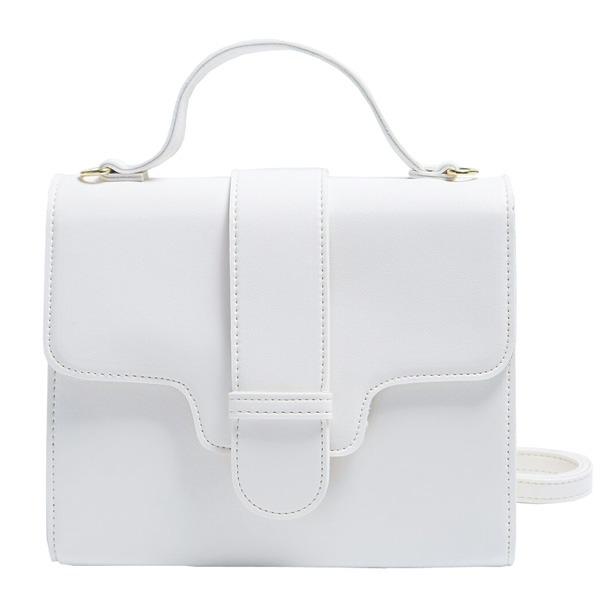 同素材の留め具がポイント♪クラシカルなシンプルハンドバッグ/アイボリーf00