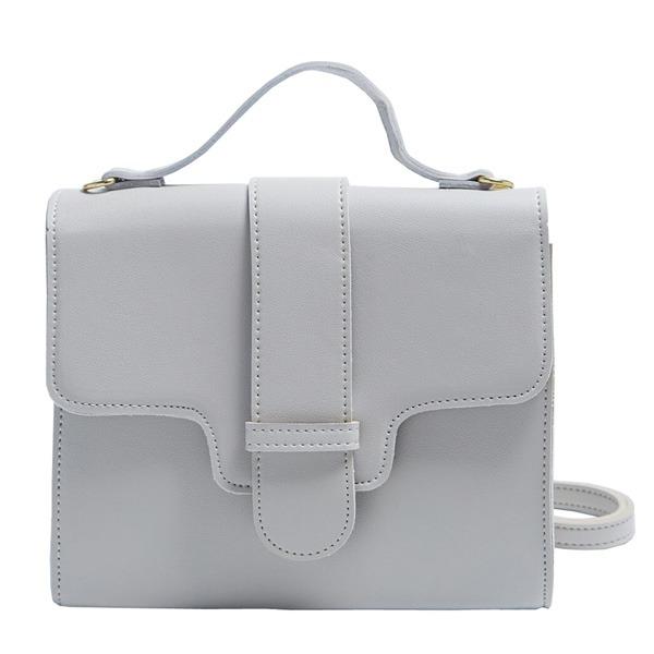 同素材の留め具がポイント♪クラシカルなシンプルハンドバッグ/ライトグレイf00