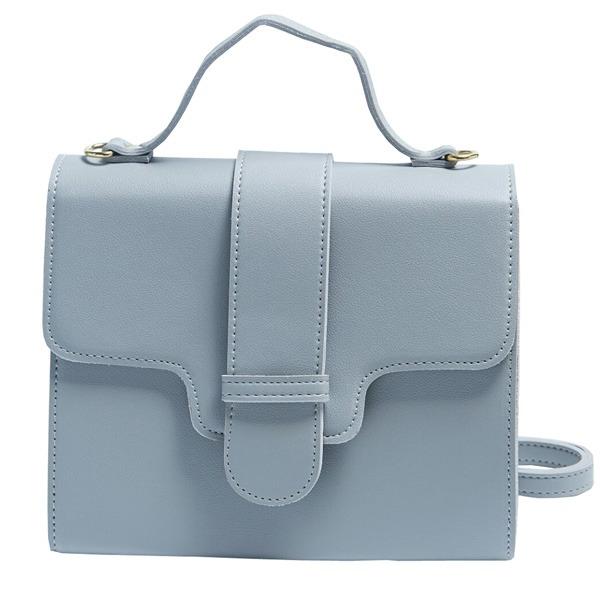 同素材の留め具がポイント♪クラシカルなシンプルハンドバッグ/グレイf00