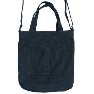 ダブルポケット&ショルダー付キャンパス素材のトートバッグ/ブラック