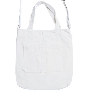 ダブルポケット&ショルダー付キャンパス素材のトートバッグ/アイボリー