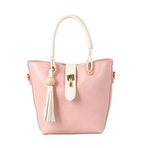 ウッドフリンジ付!全8色のツートンハンドバッグ/ピンク