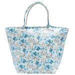 爽やかブルーの小花プリント♪台形型のファスナー付トートバッグ/ブルー