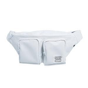 前ポケット2個付!ホワイトファスナーがポイントのボディバッグ/アイボリー