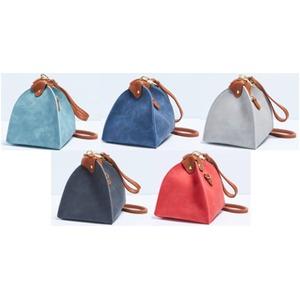 優しいカラー5色展開♪テント型ハンドバッグポーチ/ライトグレイ