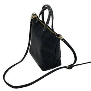 くったり柔らかい本革製♪ビジネスに使えるシンプルトートバッグ/ブラック