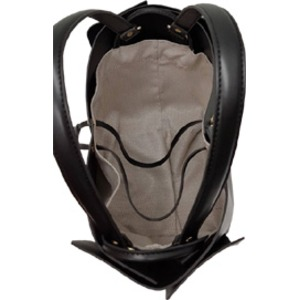 柔らか素材♪大きく開閉する巾着っぽいカゴ型シンプルハンドバッグ/グレイ