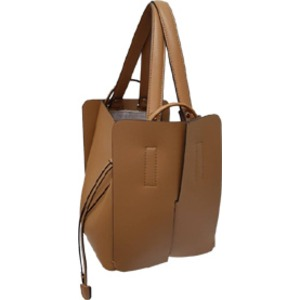 柔らか素材♪大きく開閉する巾着っぽいカゴ型シンプルハンドバッグ/キャメル