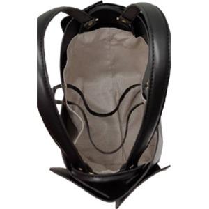 柔らか素材♪大きく開閉する巾着っぽいカゴ型シンプルハンドバッグ/ココアブラウン