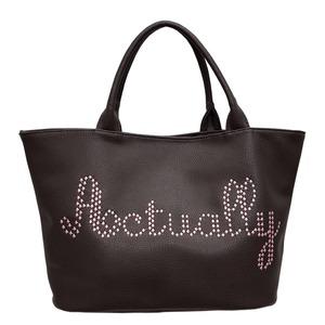 内側のピンクが可愛い♪スタッズで綴ったロゴ入トートバッグ/グレイ