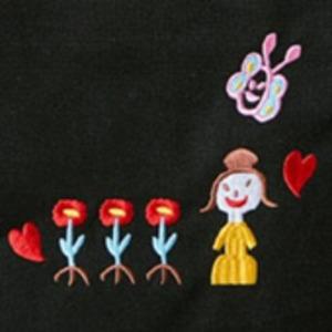 可愛い刺繍入♪ハンドル長めの縦長モノトーントートバッグ(薄型)/ブラック