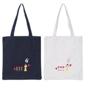 可愛い刺繍入♪ハンドル長めの縦長モノトーントートバッグ(薄型)/アイボリー