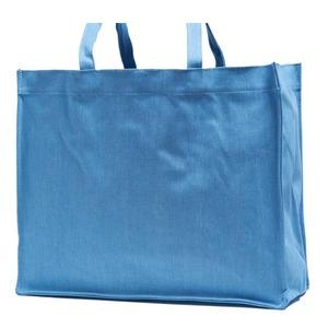 でかっ!エコバッグにも使えるデニム素材のマチ付トートバッグ/スカイブルー
