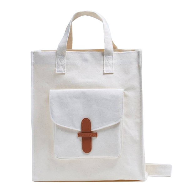 マザーズバッグにおススメ♪前ポケット付キャンバストートバッグ/キャメル