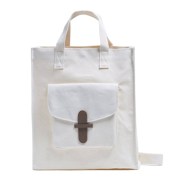マザーズバッグにおススメ♪前ポケット付キャンバストートバッグ/ベージュ