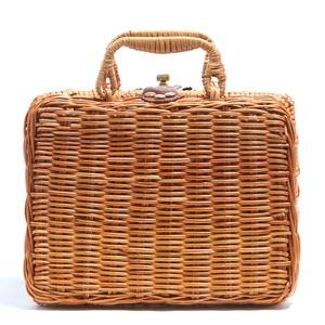 ランチボックス仕様!カゴ素材スーツケース型ミニハンドバッグ