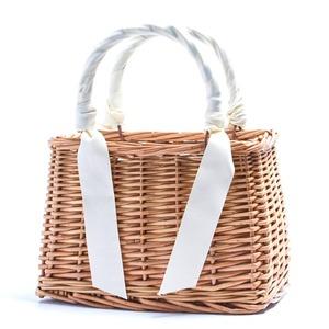 可愛いバスケットタイプ!カゴ素材リボンスカーフ付ミニハンドバッグ/アイボリー