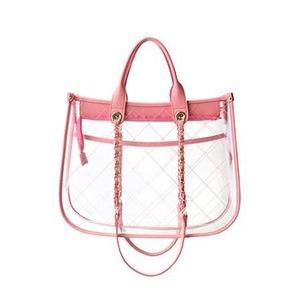 カラフル4色♪ハンドルの長さが選べるクリアトートバッグ/ピンク