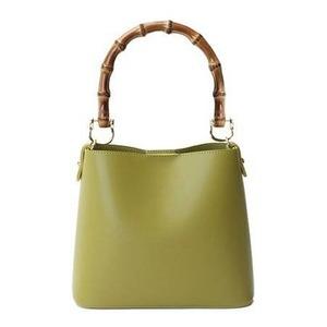 持ち手がポイント♪パカッと開く出し入れ便利なハンドバッグ/グリーン