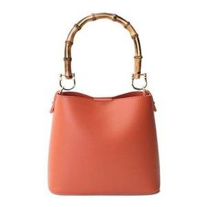 持ち手がポイント♪パカッと開く出し入れ便利なハンドバッグ/オレンジ