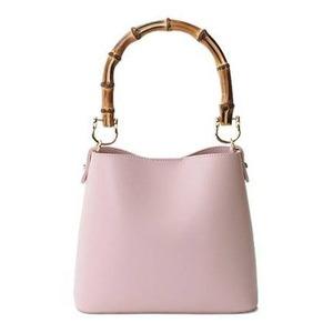 持ち手がポイント♪パカッと開く出し入れ便利なハンドバッグ/ピンク