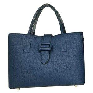 ファスナー仕切ポケット付♪ベルトバックル付柔らか素材のトートバッグ/ブルー