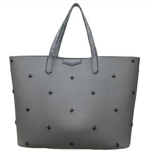 柔らか素材に上品スタッズ大容量トートバッグ/グレイ