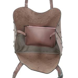 柔らか素材に上品スタッズ大容量トートバッグ/ライトグレイ