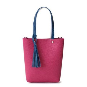 カラフル5色♪柔らか素材のツートン2Wayハンドバッグ/チェリーピンク