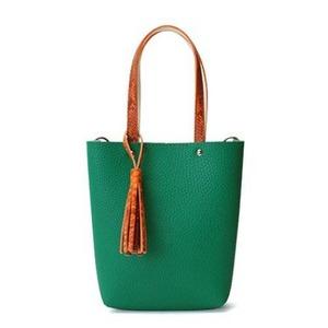 カラフル5色♪柔らか素材のツートン2Wayハンドバッグ/グリーン