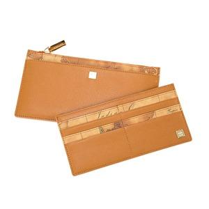 PRIMA CLASSE(プリマクラッセ) カードポケット出し入れ可能スリムなジップ長財布/ブラウン