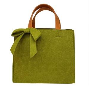 軽量♪フェルト素材の仕切り付リボントートバッグ/グリーン