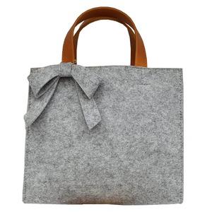 軽量♪フェルト素材の仕切り付リボントートバッグ/グレイ