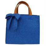 軽量♪フェルト素材の仕切り付リボントートバッグ/ブルー