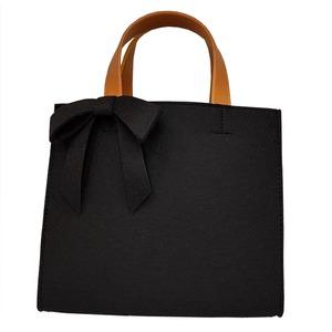軽量♪フェルト素材の仕切り付リボントートバッグ/ブラック
