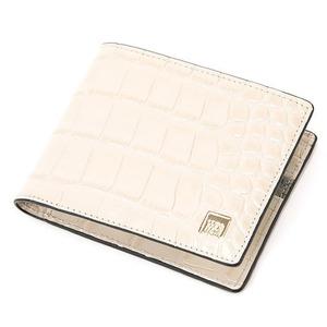 PRIMACLASSE(プリマクラッセ)PSW9-2138クロコ型押しレザー二つ折り財布(アイボリー)